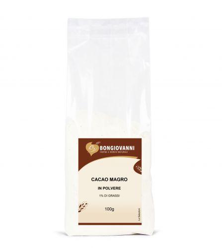 Cacao magro in polvere 1% di grassi 100g