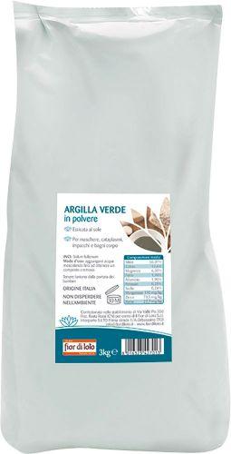 Argilla verde in polvere essiccata al sole 3 kg BIO  (min. acquisto 10 pezzi)