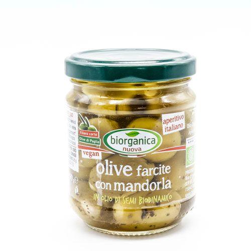 Gastronomia da banco - olive farcite con mandorle sott'olio 1.6 kg BIO  (min. acquisto 6 pezzi)