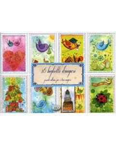 16 Biglietti d'Auguri Pronti all'uso, per i Tuoi Auguri - Cornice Azzurra - Libro (min. acquisto 10 pezzi)