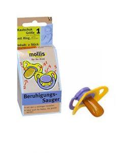 Succhiotto calmante - misura 1 - caucciù senza anello da 0 a 6 mesi 2 pz BIO  (min. acquisto 10 pezzi)