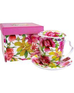 Bouquet - tisaniera con piattino con scatola regalo/filtro metallo/coperchio 400 g (min. acquisto 6 pezzi)