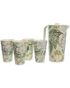 Caraffa verde con set bicchieri in bambù 880 g (min. acquisto 6 pezzi)