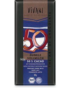 Cioccolato al latte - cacao min. 50% dolcificato con zucchero di fiore di cocco 80 g BIO  (min. acquisto 10 pezzi)