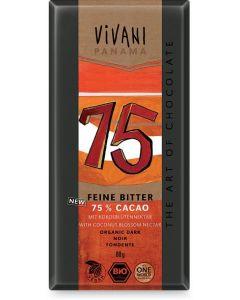 Cioccolato fondente 75% dolcificato con zucchero di fiore di cocco 80 g BIO  (min. acquisto 10 pezzi)