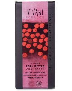 Cioccolato fondente con mirtilli rossi 100 g BIO  (min. acquisto 10 pezzi)