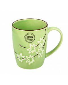 Mug verde con fiori bianchi in ceramica 375 g (min. acquisto 10 pezzi)